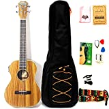 30 inch zebra wood Acoustic Baritone Ukulele with built-in preamp and tuning EQ