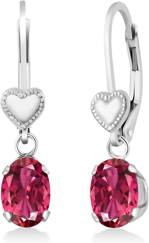 1.70 Ct Oval Pink Tourmaline 925 Sterling Silver Heart Shape Lever Earrings