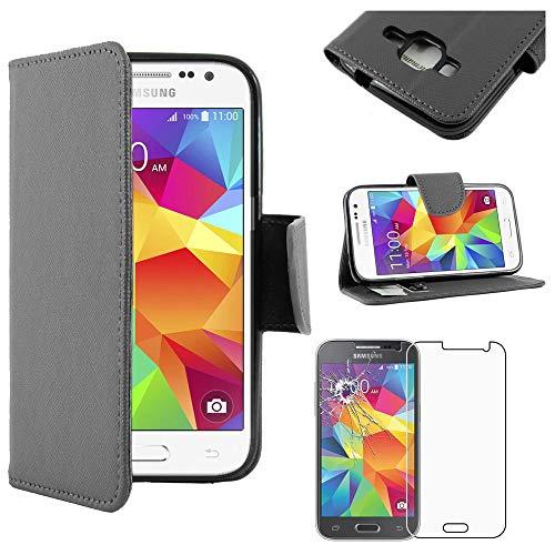 ebestStar - Funda Compatible con Samsung Galaxy Core Prime SM-G360F, 4G G361F VE Carcasa Cartera Cuero PU, Funda Ranuras Tarjeta Stand, Negro + Cristal Templado [Aparato: 130.8x67.9x8.8mm 4.5]
