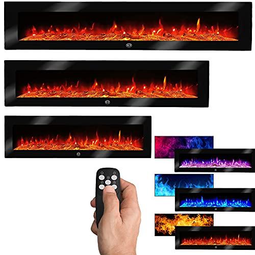Elektrokamin Wandkamin Zeus 130cm mit LED Flammensimulation - Farbwechsel - inkl. Fernbedienung, Timer & Dimmer Max.1800 Watt - Elektrischer Kamin Heizung Heizlüfter Glasfront