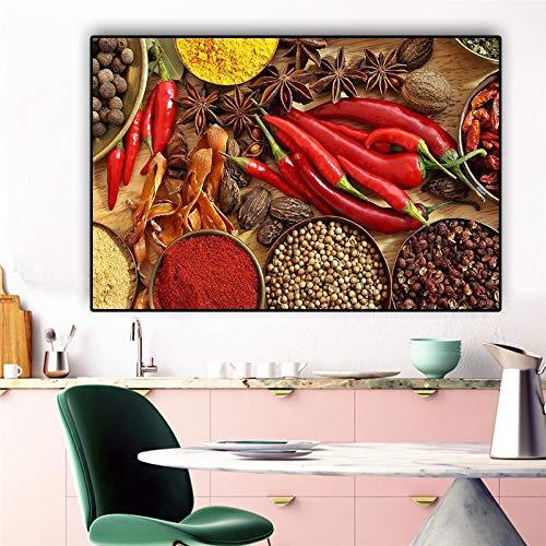 KWzEQ Löffel, Müsli und Gewürze Poster Pfeffer Skandinavische Restaurant Wandkunst Dekoration,Rahmenlose Malerei,60x90cm