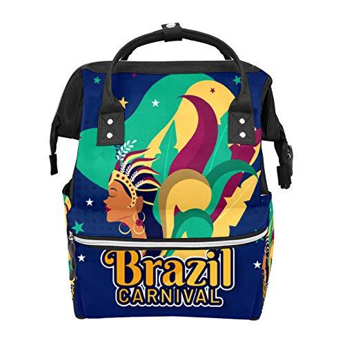Bolsa de pañales Mochila Brasileña Carnaval Plumas Estrellas Multifunción Viaje Mochila Mochila Bebé Cambiador Bolsas de Gran Capacidad Impermeable Elegante