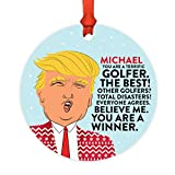 Andaz Press Personalized Name Round Natural Wood MDF Funny Keepsake President Donald Trump Sweater Christmas Tree Ornament, You are a Terrific Golfer, 1-Pack, Custom Birthday Ideas