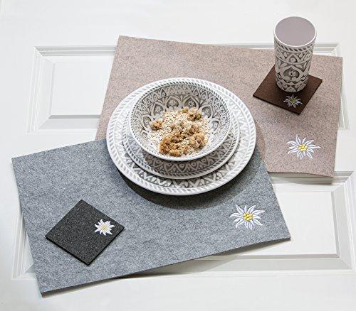 Gilde 4 x Set de Table Feutre Acier Blanc/Marron foncé Longueur 45 cm, décoration de Table, Sets