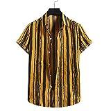 Camisas para hombre de ajuste delgado, manga corta de verano, camiseta de manga corta, blusa casual con estampado de rayas de algodón y lino, amarillo, L