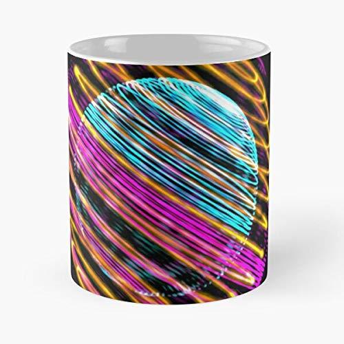 Círculo Día Geométrico Abstracto Esfera Colorida Ciudad Tierra Eat Food Bite John Best Taza de café de cerámica de 11 Oz