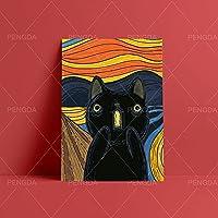 ポスター アートワーク抽象壁HD黒猫プリント家の装飾ポスター漫画の写真リビングルームのキャンバス絵画フレームワークなし 50x70cm