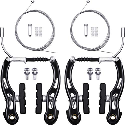 2 Pairs Bike Brakes Set Bike Brakes Mountain Bike Replacement for Most Bicycle and 2 Pieces Mountain Bike Brake Cables Bike Gear Shift Cable Wire, End Caps, End Ferrules