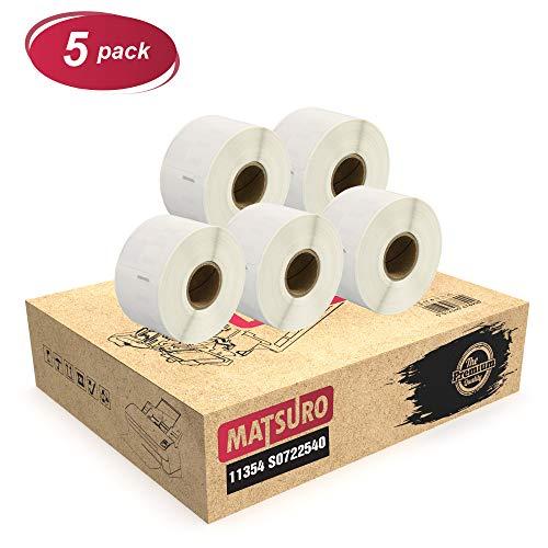 Matsuro Original | Kompatibel Rollen Etiketten Ersatz für DYMO 11354 S0722540 (57 mm x 32 mm | 1000 Etiketten pro Rolle | 5-er PACK)