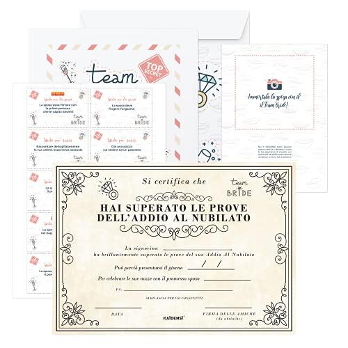 KAÏDENSÏ Giochi Alcolici Addio al Nubilato- Team Bride Gadget e Certificato per la Sposa - Bride to Be Kit - Accessori Scherzi