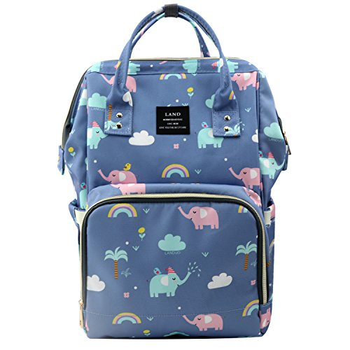 Harmony Life LAND Cute Diaper Bag Backpack Large Capacity Baby Nappy Tote Bags, Light Blue Elephant Pattern