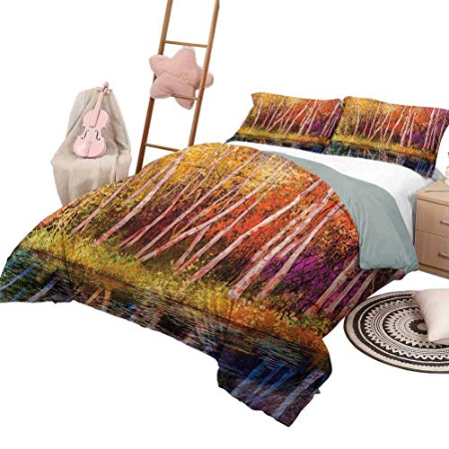 Daybed Quilt Set Flower Custom Bedding Machine Washable Fall Trees Along with Lake Fall in Jungle Natural Paradise Best Places in Earth Full Size Grink Purple