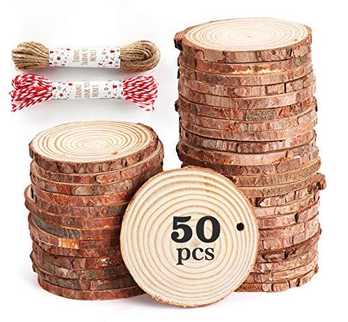 50pcs 6-7cm Tranche de Bois Naturel avec Corde de 20 mètres, Rondelles de Bois disques en Bois,Découpe Parfaite pour Le processus de Bricolage Cadeau décoration