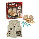 MindWare Dig It Up: Create & Dig Eggs for Kids & Explorer Vest - 14pc kit Makes 3 Skeleton Discovery Eggs with Tools & Fun Facts - Learn About Dinosaurs! - Vest fits Ages 4-10
