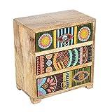 Casa Moro   Mini-cocina Orientacional Karena 19x11x21 cm (A/P/A) de madera real con 3 cajones de colores  Caja de madera pintada a mano en estilo africano   Idea original de regalo   RK104