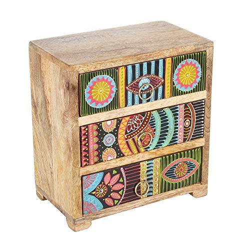 Casa Moro Orientalische Mini-Kommode Karena 19x11x21 cm (B/T/H) aus Echtholz mit 3 bunten Schubladen | Handbemaltes Holz-Kästchen im afrikanischen Stil | Originelle Geschenk-Idee Muttertag | RK104