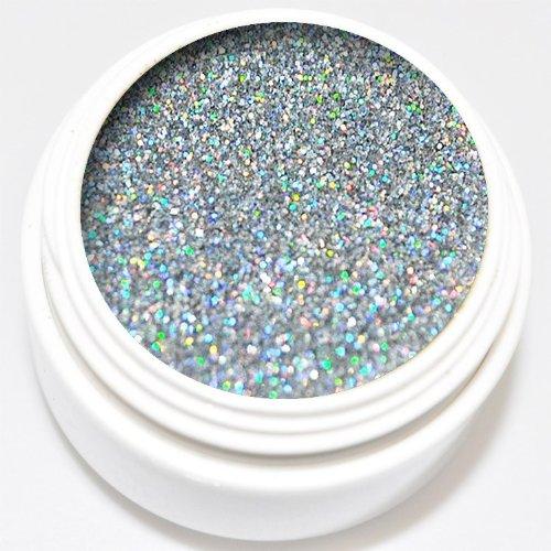 KM-Nails Diamant Glitter Gel extrem silber hologram 5ml