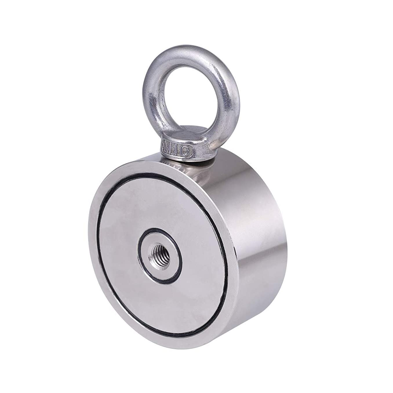 Neodymium Fishing Magnets Double-Sided Magnetic Round Neodymium Recovery Salvage Magnet with Eyebolt, Super Strong Pulling Force, 2.95