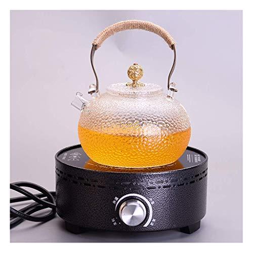 Riyyow Burbuja Tetera Martillo Vidrio Salud Olla eléctrico cerámico Estufa té casero Alta Temperatura té Juego de té (Color : B)