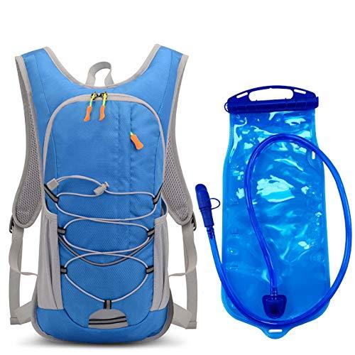 Mochila de hidratación para bicicleta, para deportes al aire libre, para correr, senderismo, escalada, viajes, bolsa de agua, mochila de hidratación, mochila azul y agua 2L