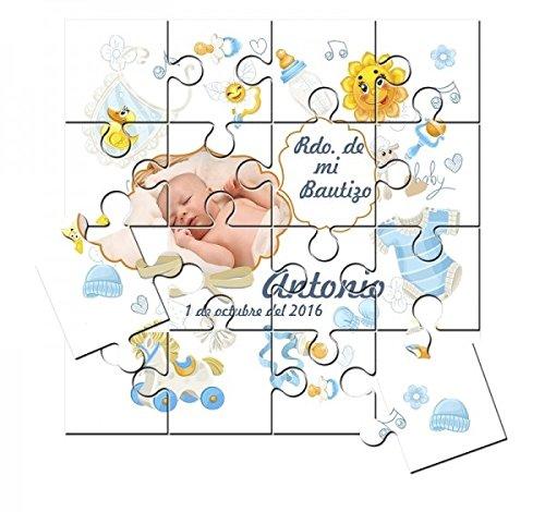 Recordatorio de Bautizo niño con foto en puzzle en lata con abre fácil - Pack de 6 unidades