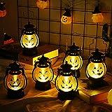 mreechan Linterna de Llama de Halloween 6 Piezas, Linterna de Calabaza de Halloween Linterna de Calabaza LED Luz de Noche Linternas,Las lámparas portátiles para decorar los alféizares de las ventanas.