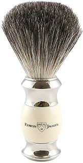 Edwin jagger 81sb356 - Brocha para afeitar de pelo de tejón (imitación de marfil, con cuello y extremo de acero niquelado)