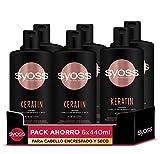 Syoss - Champú para pelo encrespado y seco - Keratin - 6uds de 440Ml (2640ml) - Controla el encrespamiento y repara en profundidad - Cabello como recién salido de la peluquería