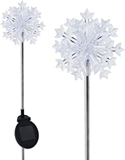 Solar Powered Christmas Snowflakes 3D Garden Stake Landscape Color Change Lights (Set of 2)