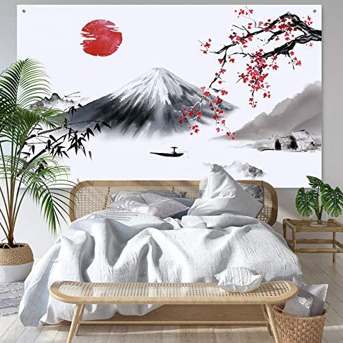 Bannière Photo Suspendue Japonaise Toile de Fond du Soleil Rouge du Mont Fuji Asiatique Toile de Fond de Nature Paysage Japonais pour Décorations Murales de Maison, 72,8 x 43,3 Pouces