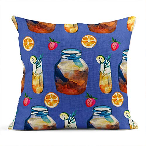 Xincow Set of 2 Throw Pillow Covers Farm Fresh with Kombucha in a Bottle Glasses and Jar Strawberries Home Durable Decorative Linen Pillowcases Square Cushion Covers for Sofa 26x26 Inches