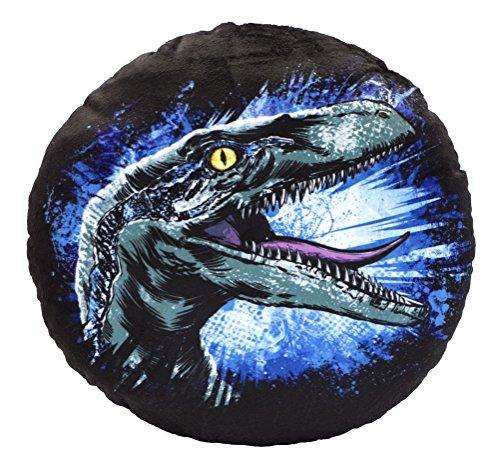 Jurassic World 75457 Blue - Cojín Redondo de Peluche (32 cm de diámetro), diseño Estampado por Ambos Lados, Multicolor