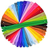 100 Pieces Nylon Coil Zippers, 12 Inch Colorful Sewing Zippers Supplies for Tailor Sewing Crafts(20 Assorted Colors)