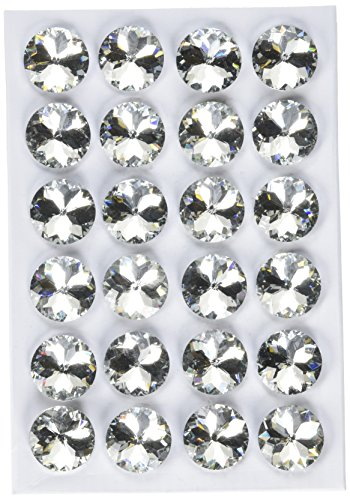 decotacks 1 inch [25mm] Flower Clear Crystal Upholstery Buttons with Metal Loop for Sofa and Headboards, 24pcs/pk BTN0725-2