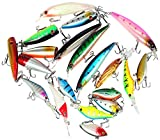 PUSTOR Bass Fishing Lures Kits Bait Topwater Fishing Lures Package Crankbaits Hooks Including 20pcs Fishing Lures for Freshwater or Saltwater