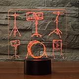 3D Illusion Night Light bluetooth Smart Control 7&16M Color Aplicación móvil Led Vision Drum Set Table Switch Instrumentos musicales Ventiladores colorido Regalo creativo