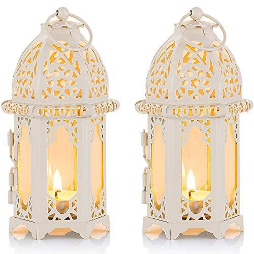 Nuptio 2 Stück Marokkanischen Stil Kerze Laterne, Kleine Teelichthalter mit Transparente Glasscheiben Ideal für Terrasse Drinnen Draußen Veranstaltungen Partys Hochzeiten, Weiß Marokkanische Lampe