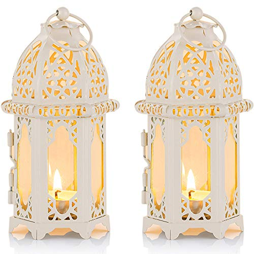 Nuptio 2 Stück Marokkanischen Stil Kerze Laterne - Kleine Teelichthalter mit Transparente Glasscheiben Ideal für Terrasse, Drinnen/Draußen, Veranstaltungen, Partys und Hochzeiten, Weiß