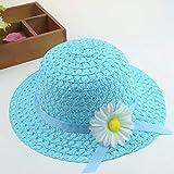 Gorra proteccion solar,Nuevos sombreros de playa para niños de verano Set de ala ancha Sombrero de paja amarillo de 3-7 años de edad Bolsas de playa rosadas para viajes de vacaciones para niños-3 - S