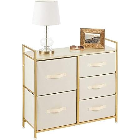 mDesign commode à 5 tiroirs – meuble à tiroirs large pour la chambre à coucher, le salon ou le couloir – rangement vêtements en métal, MDF et tissu – couleur crème/laiton