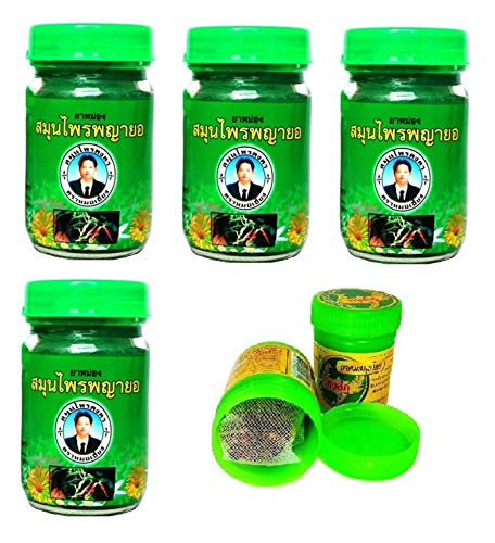 4 x 50g Thai Phayayor Green Balm Massagebalsam rein pflanzlich + 2 x Hong Koo Herbal Inhaler aus thailändischen Kräutern und ätherischen Ölen - Thai Wellness Set
