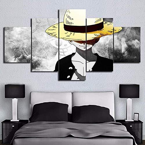 BOYH 5 Piezas Impresiones en Lienzo One Piece Póster Animado HD Mural Moderno Decoración hogareña,A,30×40×2+30×60×2+30×80×1