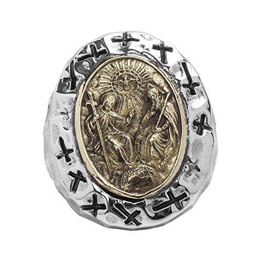 Herren Ring 925 Silber Silberring Fein Silber Ovaler Herren Ring Aus 925Er Silber Mit DREI Heiligenfür Herren Gr. 64 (20.4)