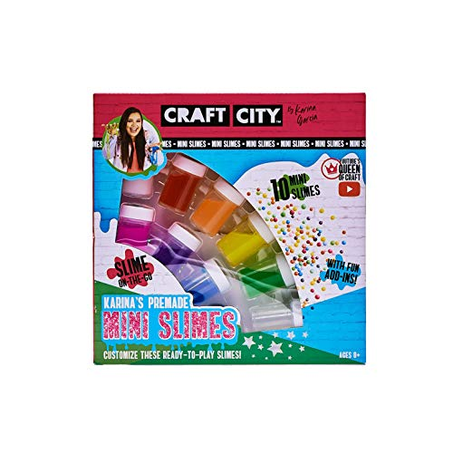 Craft City Karina Garcia DIY Mini Slime Kit | 10 Pack | Pre-Made Slime, Rainbow Colors | Ages 8+