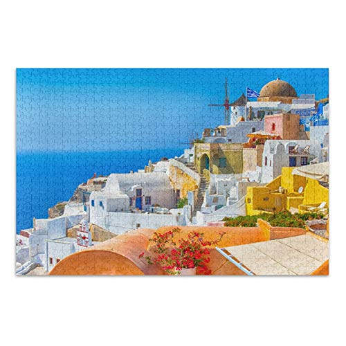 Puzzles for Adults 500 Piece Santorite Building Landscape Jigsaw Puzzle for Adults, Families, and Kids Ages 15 and up 2101232