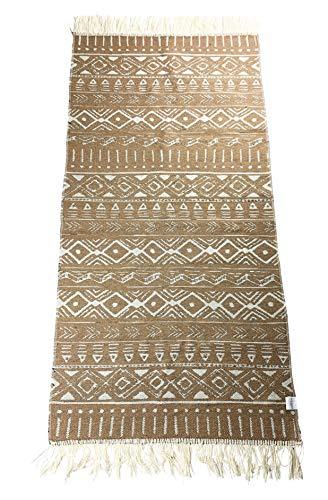 Tappeto passatoia con frange e motivo utilizzabile su entrambi i lati, stile retrò, boho, etnico, marocchino, Berber, lavabile, vintage, modello Djerba verde (nero/ecru), 135 x 65 cm (champagne/ecru)