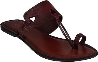 pelle albero Womens Maroon Comfortable Flat Slippers