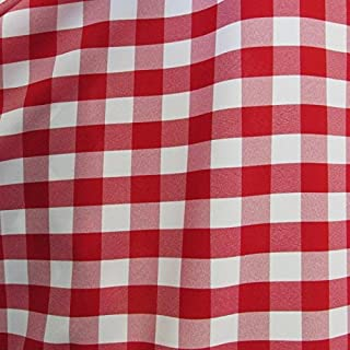 """25 Yard Bolt - RED/White 60"""" Wide Poly Poplin 1-inch Checkered Fabric"""