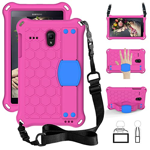 QYiD Kids Case for Galaxy Tab A 8.0 2017 SM-T380/T385, Kids Friendly Light Weight Non-Toxic EVA Shockproof Case with Handle Stand, Shoulder Belt for 8.0 Inch Galaxy Tab A 2017 Release, Rose/Blue