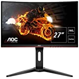 "AOC C27G1 - Monitor Gaming Curvo de 27"" con Pantalla Full HD e-Sports (VA, 1ms, AMD FreeSync, 144Hz, Sin Marco, Ajustable en altura y FlickerFree), Color Negro/Rojo"
